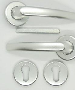 Kľučka na plastové vchodové dvere MTS DELENÁ strieborná EF01